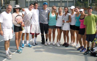 Danielle Baron, sixth from right, with her 2012 Israel Sports Exchange cohort and their counselors and instructors. ISE founder Larry Seidman is on the far left.