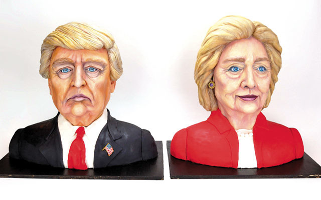 Melissa Alt's bust cakes of Donald Trump and Hillary Clinton are both winners.