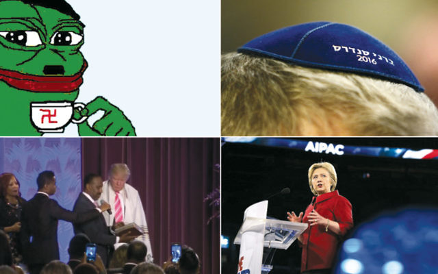 From top left, clockwise: Pepe the Frog, Bernie Sanders kippah, Hillary Clinton speaking at AIPAC, Donald Trump wearing a tallit.  (Pepe photo: Twitter; Sanders photo: Charles Ledford/Getty Images; Clinton photo: Alex Wong/Getty Images; Trump photo: YouTube)