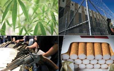 Top left, clockwise, marijuana photo: Richard Lautens/Toronto Star via  Getty Images; prison photo: Justin Sullivan/Getty Images; cigarettes photo:  Matt Cardy/Getty Images; guns photo: Ethan Miller/Getty Images