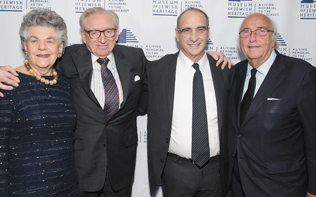 Klara Silverstein; her husband, Larry Silverstein, chair of Silverstein Properties and founding trustee of the Museum of Jewish Heritage; Bruce Ratner, chair of Forest City Ratner Companies and the MJH, who was named to the Crain's NY 2016 Hall of Fame, and George Klein, chair/CEO of Park Tower Group and vice chair of the MJH. Museum of Jewish Heritage/Melanie Einzig