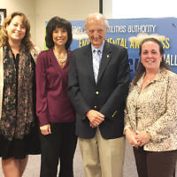 Last month, Sheila Barbach, left, coordinator at the Academies at Gerrard Berman Day School in Oakland, and Robin Kelly, a GBDS science teacher, received a Bergen County Utilities Authority Environmental Awareness Challenge Grant for the school. Next to Ms. Kelly, from left, are Bergen County Freeholder and vice chair Tracy Silna Zur,  and BCUA commissioners George Zilocchi and Catherine Bentz. (Courtesy GBDS)