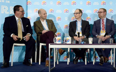 From left to right: Matt Brooks, director of the Republican Jewish Coalition; Noam Neusner, former speechwriter for President George W. Bush; Tevi Troy, deputy health secretary under President George W. Bush, and Jeff Berkowitz, former research director for the Republican National Committee, at the Jewish Federations of North America's General Assembly in Washington, D.C., Nov. 14, 2016. (Ron Sachs)