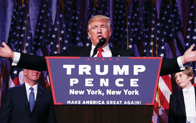 Republican president-elect Donald Trump delivers his acceptance speech during his election night party at the New York Hilton Midtown in Manhattan. (Chip Somodevilla/Getty Images)