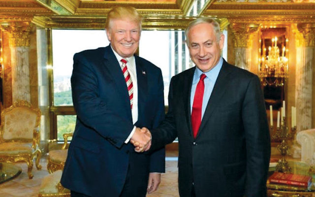 Donald Trump and Benjamin Netanyahu meet in Trump Tower in Manhattan in late September. (Trump Campaign)