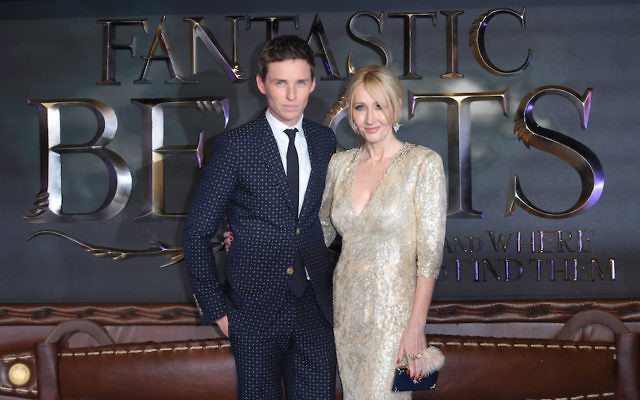 """Eddie Redmayne and J. K. Rowling at the European premiere of """"Fantastic Beasts And Where To Find Them"""" at Odeon Leicester Square in London, November 15, 2016. (Karwai Tang/WireImage)"""