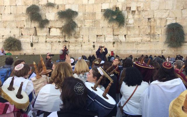 Women of the Wall members bringing Torahs to the Western Wall, Nov. 2, 2016.