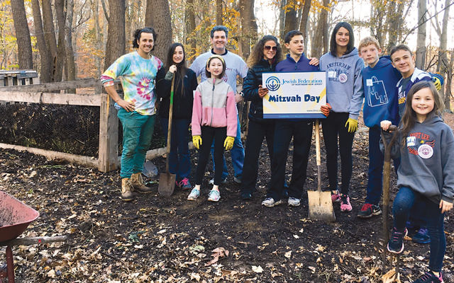 Students from Bergen County High School of Jewish Studies gather for Mitzvah Day, sponsored by the Jewish Federation of Northern New Jersey.