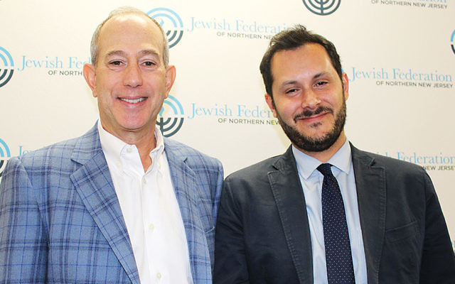 Larry Weiss, JFNNJ's Commerce and Professionals chair, left, with Sam Stein. (Courtesy JFNNJ)