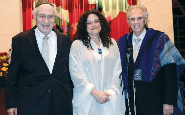 Rabbi/Cantor Meeka Simerly, center, with Rabbi Emeritus Israel Dresner and Cantor Emeritus Charles Romalis. (Courtesy TBT)
