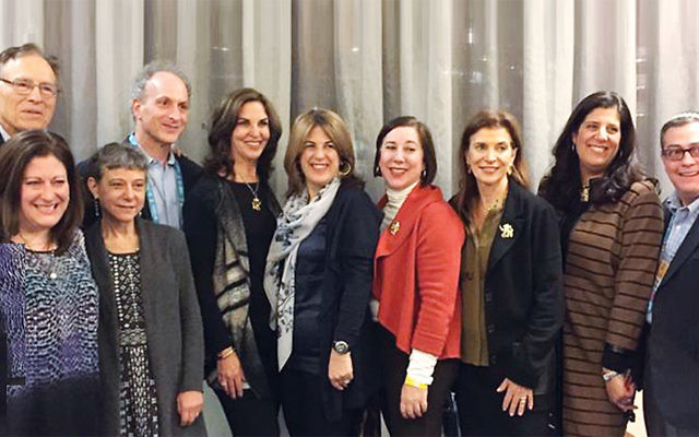 Pictured at the NJ State Reception at the JFNA GA 2016 at the Washington Hilton are Dr. Leonard Cole, Jamie Janoff, Jayne Petak, Donna Kissler, Roberta Abrams, Joan Krieger, Julie Lipsett-Singer, and Jeremy Fingerman. Lisa Harris Glass and Joanne Palmer are in the front. (Courtesy JFNNJ)