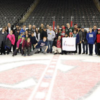 A large contingent of hockey fans joined Areyvut at a recent Devils game at the Prudential Center in Newark. (Courtesy Devils photographer)