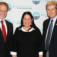 At a recent Jewish Federation of Northern New Jersey's Jewish Community Relations Committee program, Jeff Mendelsohn, left, CEO of Israel Seminar USA and executive director of the Foundation Stone Institute, was the guest speaker. He discussed the demographic trends that led to the recent presidential election results and the impact of the election on anti-Semitism and the U.S.-Israel relationship. The program chair, Arlene Weiss, and JCRC chair Ron Rosensweig are with him. (Courtesy JFNNJ)