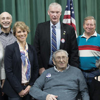 Temple Beth Sholom of Fair Lawn's Men's Club held its annual veterans recognition program. Harry Feinberg of Elmwood Park, center, a World War II veteran who served in General Patton's 4th Armored Division, which fought in the Battle of the Bulge and liberated Ohrdruf and Buchenwald, spoke. With Mr. Feinberg and his wife, Edie, are Allyn Michaelson, who led the interview with Mr. Feinberg; men's club co-president Andrew Sorger; Fair Lawn council member Lisa Swain; Mayor John Cosgrove; men's club co-president Steven Bernstein, and council member Kurt Peluso. Congregants and community veterans, including members of Fair Lawn Jewish War Veterans Post #651, also attended. (Courtesy TBS)