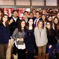 The heBREWS — a group of Temple Emanu-El of Closter members who live in Manhattan and surrounding areas — meet monthly to enjoy a beer with the shul's clergy. Recently they joined Rabbi David-Seth Kirshner at a kickoff event at Atwood NY in Manhattan. (Courtesy Emanu-El)