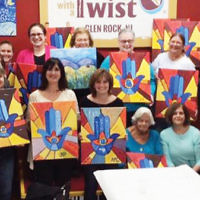 The sisterhood at Temple Beth Sholom in Fair Lawn sponsored its art night at Painting with a Twist in Glen Rock. (Courtesy TBS)