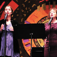 "Becca ""beccs"" Gastfriend, left, and Cantor Ellen Tilem performed at a Sharsheret Chanukah benefit concert at Temple Emeth in Teaneck. (Barbara Balkin)"