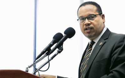 Rep. Keith Ellison at a news conference at the National Press Club in Washington, D.C., in May.