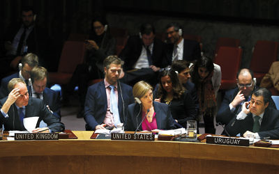 Samantha Power, center, the U.S. ambassador to the United Nations, at the Security Council meeting in New York on December 23.  (Volkan Furuncu/Anadolu Agency/Getty Images)