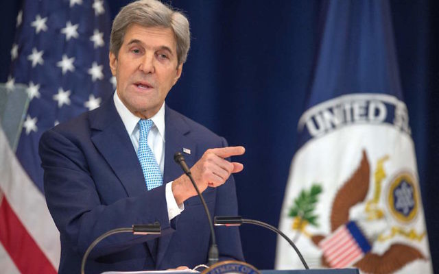 Secretary of State John Kerry laying out his vision for peace between Israel and the Palestinians at the State Department in Washington, D.C., Dec. 28, 2016. (Paul J. Richards/AFP/Getty Images)