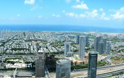 Tel Aviv, seen here from above, was the center of the binary options fraud. (Wikipedia)