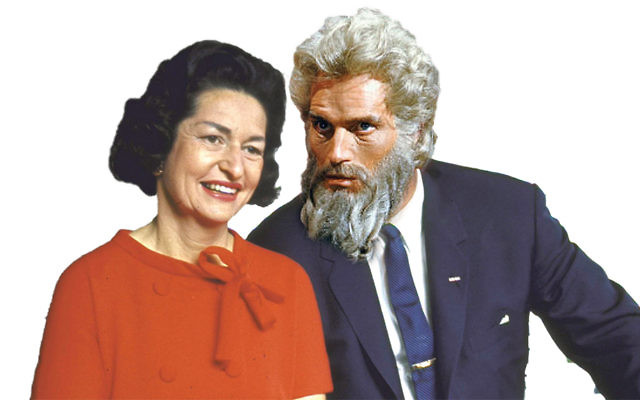 Lady Bird johnson, left, and Moses, played by Charlton Heston. (Artist's reconstruction)
