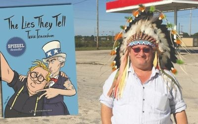 Good tourist Tuvia Tenenbom tries on an Indian headdress at a gas stations somewhere in rural Oklahoma. (PHOTO BY ISI TENENBOM)