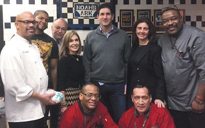 From left, Chris Bullock, Edwin Abreu, Nelson Reyes, Carol Silver Elliott, Snerte Leger, Noam Sokolow, Sunni Herman, Mauro Ortiz, and Pierre Opont at Noah's Ark in Teaneck.