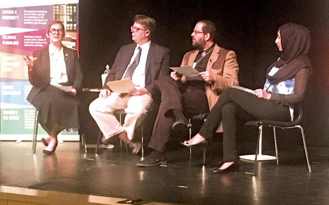 Austin interfaith activists Amanda Quraishi, Daniel Joslyn-Siemiatkoski, Rabbi Neil Blumofe, and Muna Hissaini discuss a passage from Genesis Rabbah.