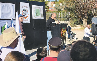 Dr. Jordy Alter speaks at the groundbreaking for a baseball complex in Beit Shemesh, Israel. (David Greenstone)