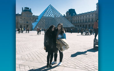 Co-CEOs Alexandra Warren, left, and Sydney Hertz pose in Paris.
