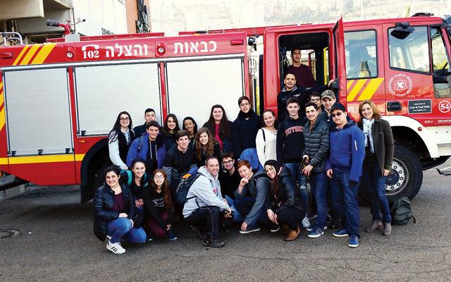 Students visit a firehouse in Mount Carmel. (Courtesy BCHSJS)