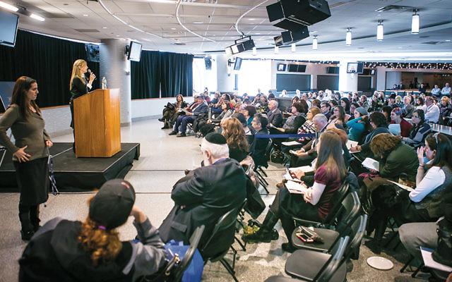 Raizi Chechik, the principal of Stella K. Abraham High School, spoke about women and Torah transmission. (Photo provided)