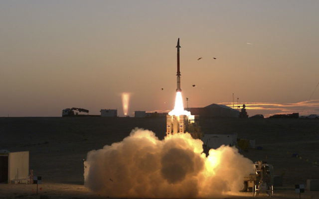 The David's Sling missile defense system undergoing a round of tests in Israel, Dec. 21, 2015. (Associated Press/courtesy of Israel Ministry of Defense)