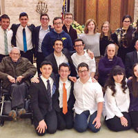 Teens from the NCSY youth group spent the weekend at the Jewish Home at Rockleigh, engaging with residents and enhancing their Shabbat experience. The ongoing program has become so popular there is a waiting list for participants. (Courtesy Jewish Home Family)