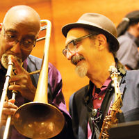 More than 100 people attended a concert by the Jazz Passengers at Temple Beth El of Northern Valley in Closter. The concert was sponsored by Whole Foods Market. This was the group's debut concert in the new series MusicLAB, Live at Beth El. Roy Nathanson and Curtis Fowlkes of the group are pictured. (Melchior DiGiacomo)