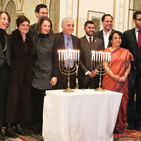 On January 9,150 members and friends of the New Jersey Region of the  American Jewish Committee were invited to the Indian consulate in Manhattan for a post-Chanukah celebration and Indian cuisine. The group was greeted by Riva Ganguly Das, third from right, India's consul general in New York. (Courtesy AJC)