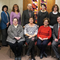 ual faculty/board of education dinner last month. Rabbi Arthur Weiner, Cantor Sam Weiss, and education director Marcia Kagedan are shown here with teachers and board members.