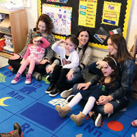 Children in the 4s class in the early childhood program at Temple Emanuel of the Pascack Valley celebrate Shabbat with their moms. (Courtesy TEPV)