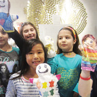 Shomrei Torah of Wayne's religious school students decorated puppets to donate to the Children's Cancer Institute at Hackensack University Medical  Center. (Courtesy ST)