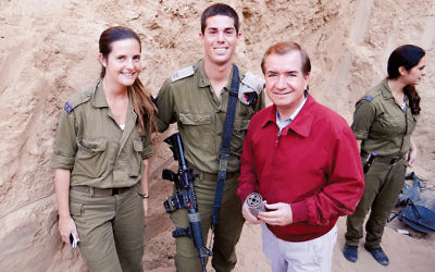 Representative Ed Royce, with IDF soldiers, at the opening of a tunnel that the Israeli army detected and destroyed a quarter mile from Gaza in 2014. (Courtesy of Royce's office)