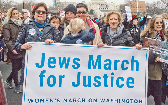 From left to right: Nancy Kaufman, CEO of the National Council of Jewish Women; Rabbi Tamara Cohen, chief of innovation at Moving Traditions, and Debbie Hoffmann, NCJW's board president, at the National Mall for the Women's March on Washington. (Ron Sachs)