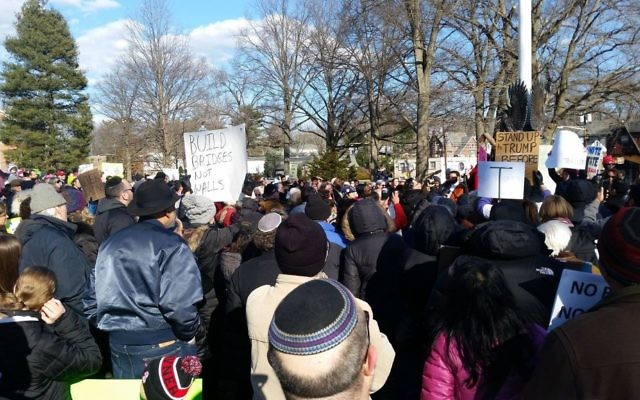 Hundreds gathered in Teaneck, N.J., on Sunday, January 29, to protest President Trump's executive order against immigration.