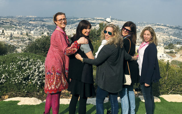 From left, Gale Bindelglass, Suzette Diamond, Dana Post Adler, Franci Steinberg, and Lisa Hecht overlook Jerusalem.