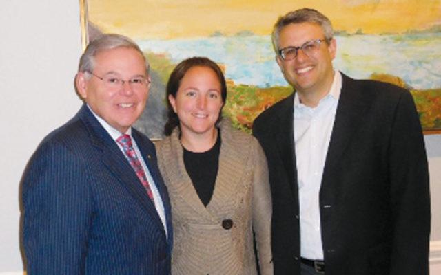 Senator Robert Menendez with Gail and Binyamin Rieder (Courtesy Norpac)