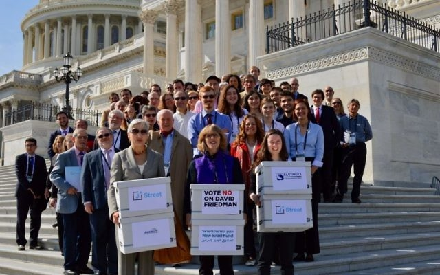 J Street activists deliver a petition to the Senate opposing the nomination of David Friedman as ambassador to Israel, Feb. 28, 2017. (J Street)