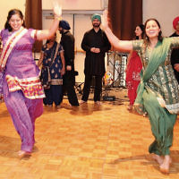"""Temple Israel & JCC in Ridgewood's third annual """"Cabaret Night,"""" held on January 21, included performances by the Barnert Brass, made up of members of Barnert Temple in Franklin Lakes; singer/songwriter Ariana Gates of Fair Lawn, the Ridgewood Bollywood Dancers, shown here; classic rock by Macaroon 5 of the Glen Rock Jewish Center; the North Jersey Choral Society Vocal Ensemble; storyteller Pam Grant, and the folk/rock band Di Fir Kashes, with members of Temple Israel. (Jo Rosen Photography)"""