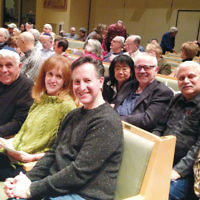 Elaine and Michael Padva, left, with Wendy and Ken Zuckerberg, Saige Siskin, Sam Rak, Barry Blecher, and Karen Albert, all members of Temple Emanuel of the Pascack Valley in Woodcliff Lake, were among the many participants at Sweet Tastes of Torah, the community-wide celebration of learning on February 11. (Photo provided)