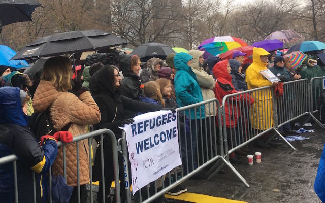 About 700 people attended a New York City rally in support of refugees organized by the Hebrew Immigrant Aid Society, Feb. 12, 2017. (Josefin Dolsten)