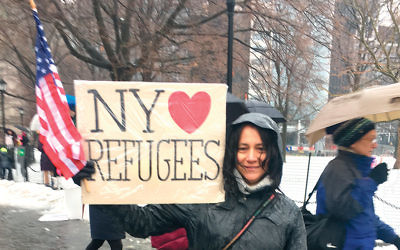 At the Manhattan rally, Lisa Davidson said she sees parallels between the Holocaust and the civil war in Syria. (Josefin Dolton)